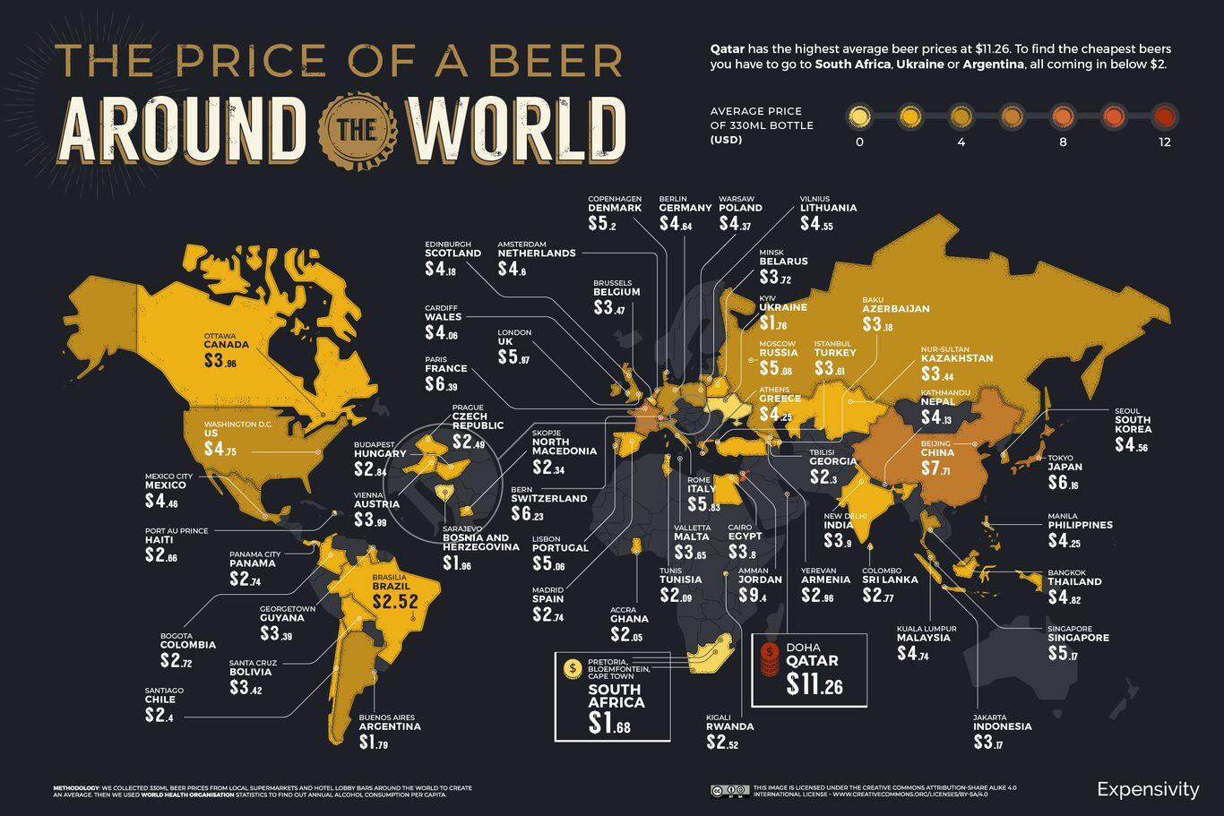 Índice mundial de cerveza 2021: los países donde más cuesta, más se consume y más se gasta, en un mapa